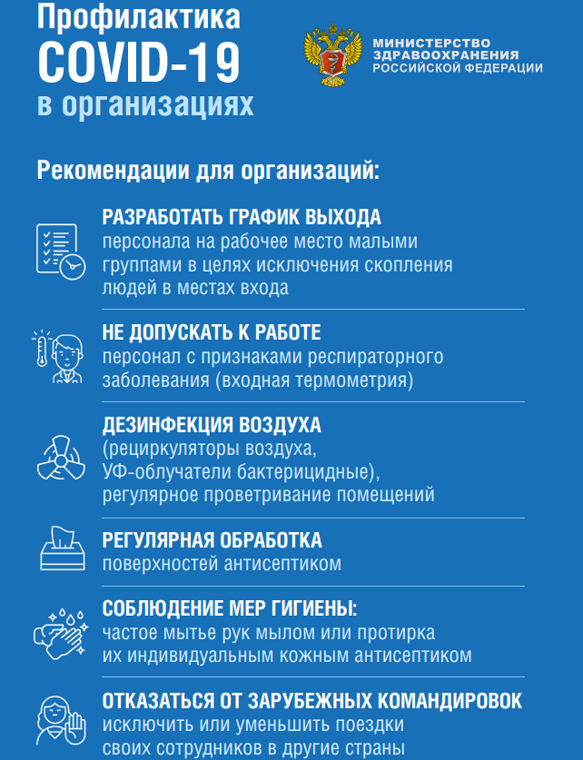 Профилактика коронавируса в организациях